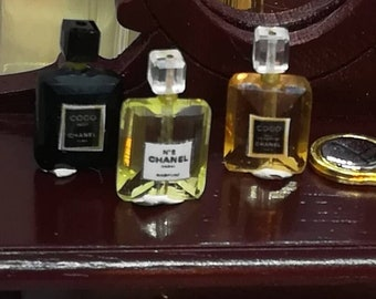 Dollhouse Miniature Set of Chanel Perfume Bottles for Chanel Fans
