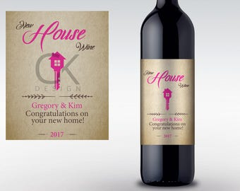 Wine Label For A New House, home Gift, for printing at home!
