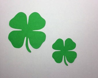 25 Green 4-Leaf-Clover Cardstock Cut Outs