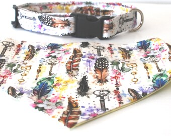 """Enchanted feather dog collar, 1"""" width, buckle clasp dog collar, adjustable fabric covered nylon dog collar, girl dog collar, colour collar"""