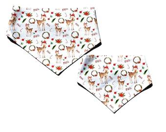 Rudolph Reindeer Christmas Personalised Snap On Dog Bandana