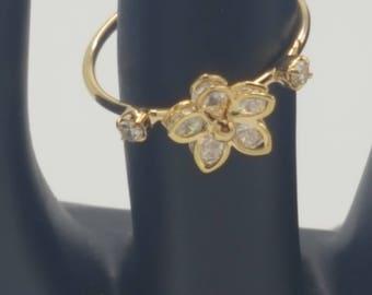 Adjustable Gold Flower Ring