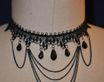 Designer black lace trim choker