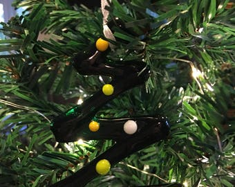 Tree shaped christmas tree decoration made from fused glass