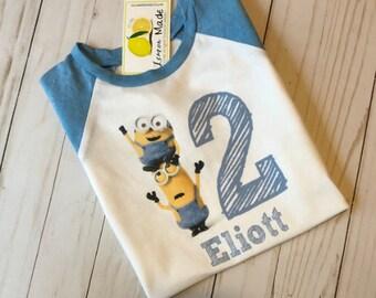453bda230 Minion birthday shirt, minion shirt with name, minion shirt for boy, minion  shirt for girl, despicable me shirt with name