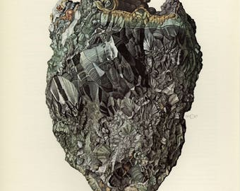 Mineral Vintage lithograph of the Rockbridgeite mineral from 1967