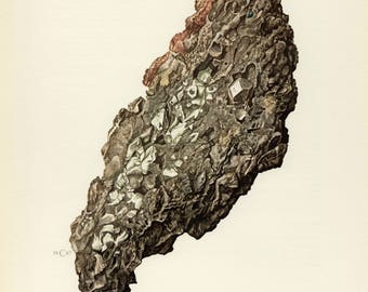 Mineral Vintage lithograph of the Moschellandsbergite from 1967