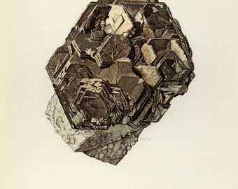 Mineral Vintage lithograph of the Pyrrhotite mineral from 1967