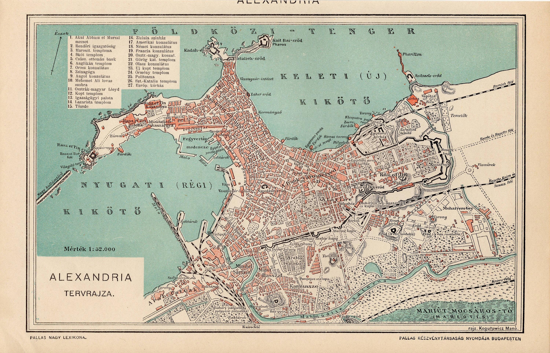 ALEXANDRIA MAP EGYPT from 1893 | Etsy