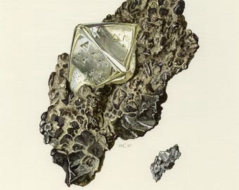 Mineral Vintage lithograph of the Diamond from 1967