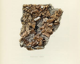 Mineral Vintage lithograph of the Siderite mineral from 1968