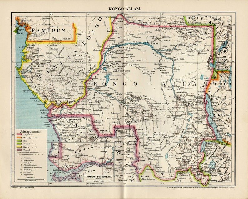 Congo Free State Antique Map From 1895 Etsy