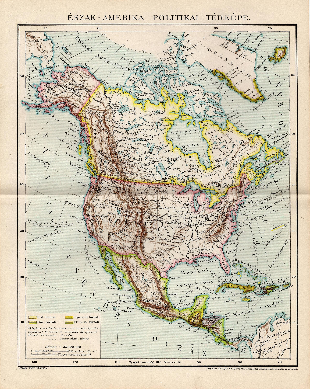 NORTH AMERICA POLITICAL Map 1893