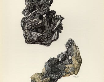 Mineral Vintage lithograph of the Stephanite and Argentite minerals from 1968