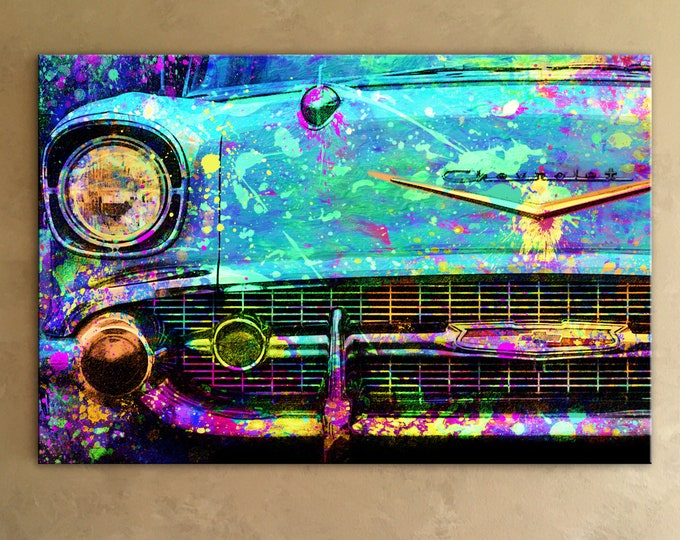 1957 Chevy Bel Air Mixed Media Canvas Painting