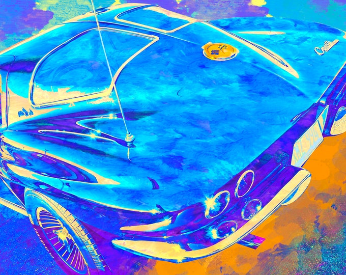 1963 Corvette Watercolor Limited Edition Blue Variant Signed Print