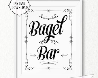Bagel bar Sign, 11x14, 8x10, black and white, INSTANT download, Kitchen, Printable, Digital, kitchen wall art, vintage style, bagel, decor