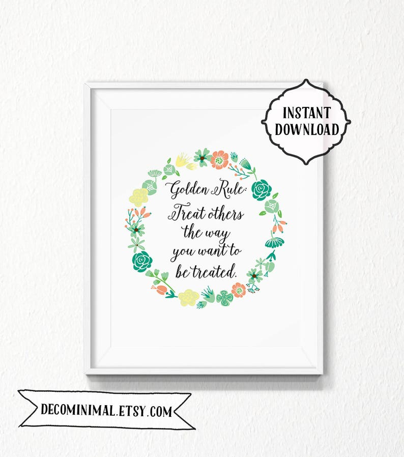 photo relating to Golden Rule Printable named The Golden Rule, 8x10, Instantaneous down load, property printable, Printable, Electronic, graude, black and white, typography, Bible, floral wreath