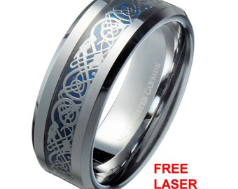 24fff69e19 Blue Celtic Dragon 6mm or 8mm Men's/Women's Tungsten Carbide Wedding Band  Ring. Free Laser Engraving.