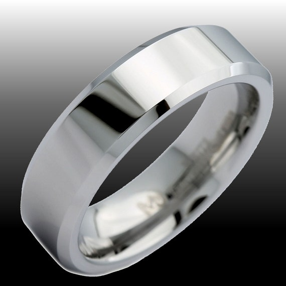 Security Jewelers White Tungsten 6mm Beveled Band Size 14 Ring Size 14