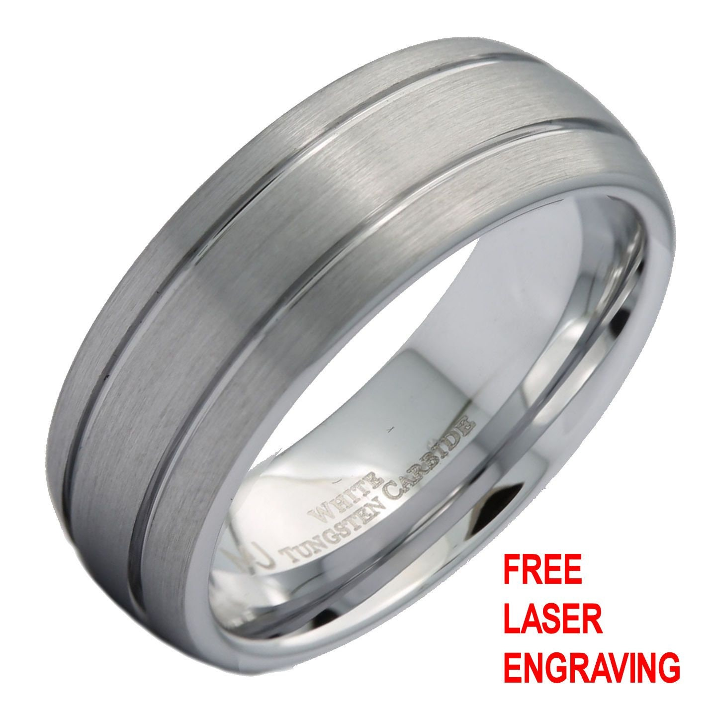 IULIUS Polished Tungsten Carbide Comfort Fit Ring 6mm /& 8mm