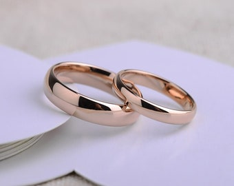 Polished Rose Gold Plated Ring Tungsten Carbide Wedding Band. Free Inside Laser Engraving