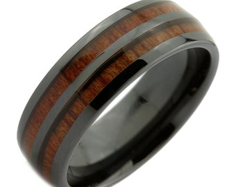 Black Ceramic 8mm Wedding Band 2 Natural Koa Wood Inlays Comfort Fit Ring. Free Velvet Pouch.
