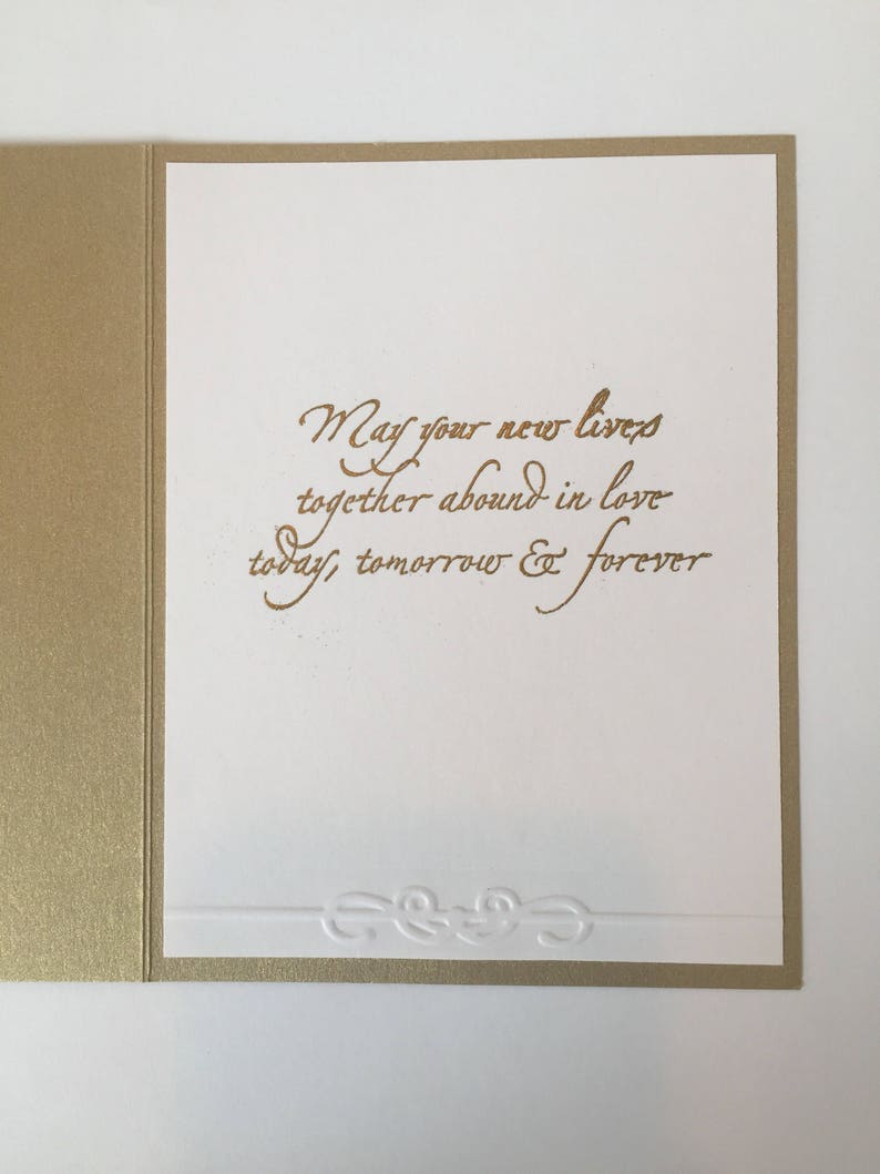 White /& Gold Wedding Card