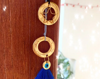 Golden Lucky Eye Flower Medallion Necklace with Blue Evil Eye Talisman  #3701