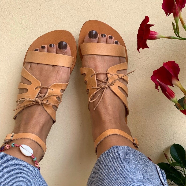 Ancient Goddess Sandals Greek Leather Sandals Natural Color Sandals Handmade Sandals Made in Greece Roman Sandals Greek Sandals