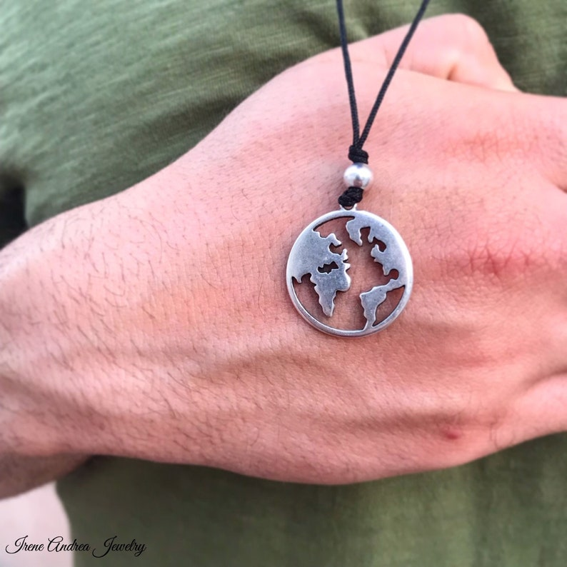 Silver Necklace Greek Necklace World Map Necklace World Necklace Earth Necklace Men/'s Jewelry Globe Necklace Men/'s Necklace