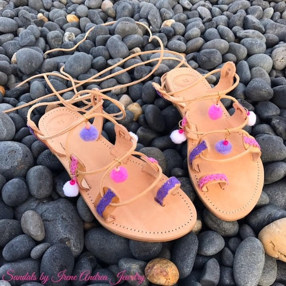 cuir grec antiques Pom sandales en Pom chaussures Boho sandales Licorne sandales sandales sandales fabriqu gladiateur sandales Ox7nPIvqR
