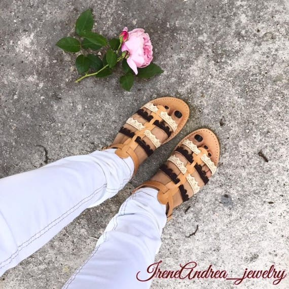 Lather Barefoot Sandals Sandals Sandals Made Sandals Gladiator Leather Greek in Lace Stripe Sandals Sandals Greek Sandals Greece 0qZxxRIAw
