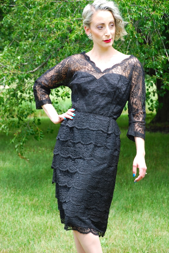 Vintage 40s 50s Ferman O'Grady Lace Dress, Black Floral Lace Tiers, Sleeves, Wiggle Dress, Cocktail Dress, Mad Men, Bombshell Pinup, Size L