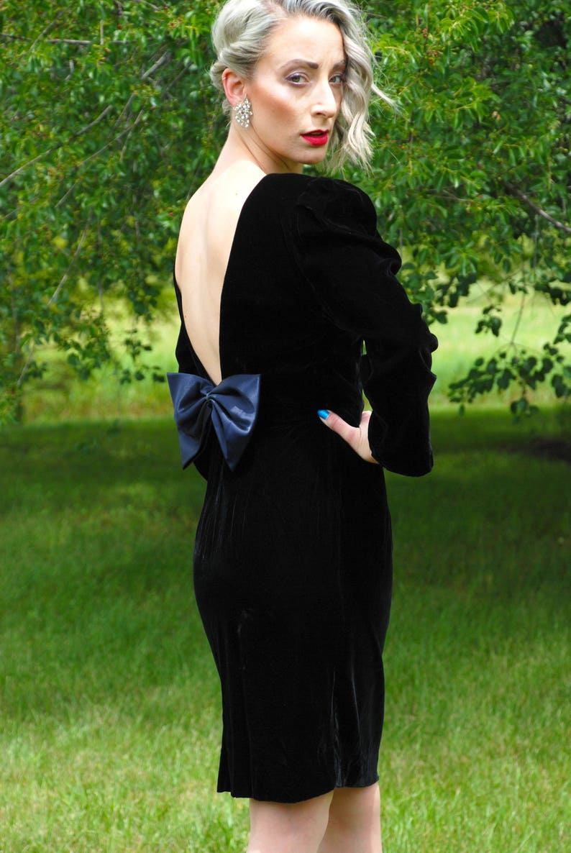 34bc5f91d71 80s Vintage Cocktail Dress Late Edition Ltd Black Velveteen