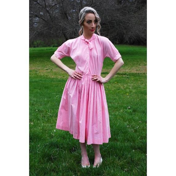 50's Vintage Pink Plaid Dress, Handmade Shirtwaist