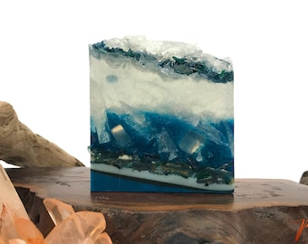 Blue Agate Soap - Polished Agate Square Crystal Hand / Bath Bar Soap (Island Escape Scent) : PM0011