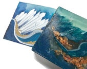 Topaz Blue Agate Soap - Polished Agate Square Crystal Hand / Bath Bar Soap ( Island Escape Fragrance Oil Scent ) : PM0011