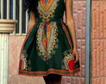 Dashiki Skater Dress, Dashiki Dress, Dashiki Strapless Dress, African Print Dress, Ankara Skater Dress, Ankara Dress