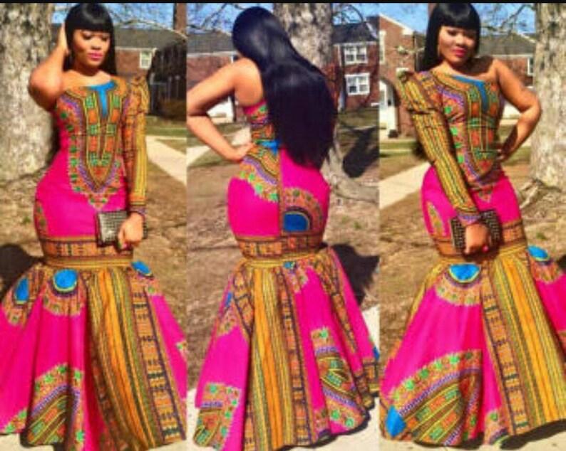 b4fbf53c93b8 Dashiki mermaid dress   Etsy