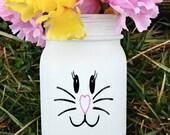 Mason jar, painted mason jar, bunny mason jar, Easter decor, painted Easter decor, white mason jar, mason jar vase, Easter, bunny face,