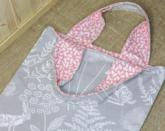 Cotton Book Bag Handmade in Grey Hare and Fern Fabric and Lined with Peach and White Abstract Fabric