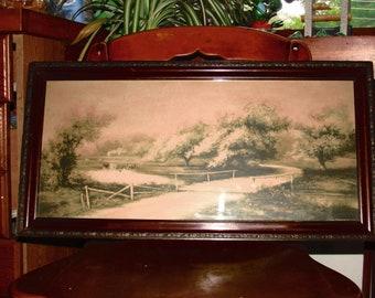 Antique Picture Ornate Frame farmhouse deco, barn, road, cows