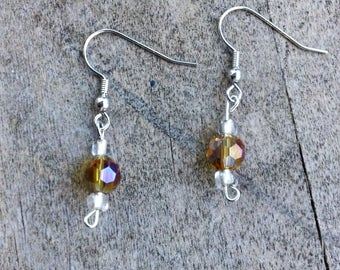 Yellow Beaded Earrings, Bright Jewelry, Dangle Earrings, Crystal Earrings, Short Dangle Earrings, Beaded Earrings, Womens Fashion, Handmade