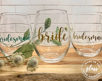Personalized Stemless Wine Glass | Stemless Wine Glasses | Bridesmaids Gift | Personalized | Custom Stemless Wine Glasses | 20 oz.