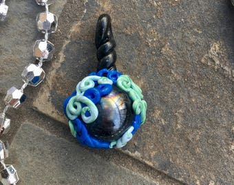 New Earth glass orb pendant necklace metaphysical clay pagan earth magic handmade