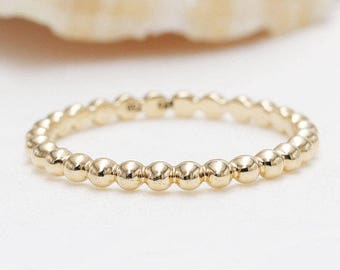Thin Flat Bead Ring Simple Gold Stack Ring Gold Beaded Stacking Ring Faceted Ball Ring Beaded Gold Stacking Ring Flat Beaded Gold Ring