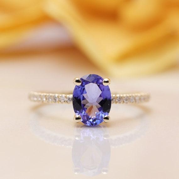 14K Gold Tanzanite Diamond Engagement Ring/Diamond Engagement Ring/Blue Gem Ring/Valentine Ring/December birthstone Ring/Promise Ring/Gift