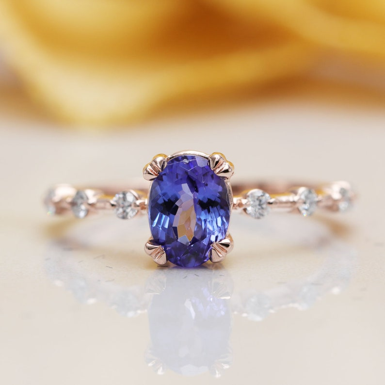 Special price/14K Gold High Quality Oval Blue Tanzanite image 0