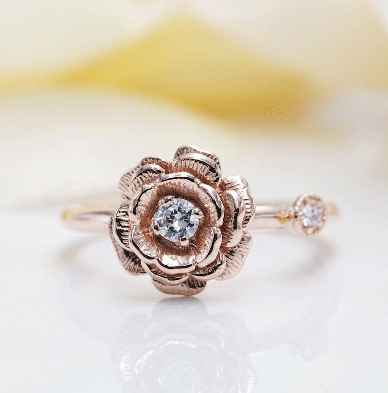 14K Rose Gold May Rose Diamond Ring/Rose Ring/Diamond Rose image 0